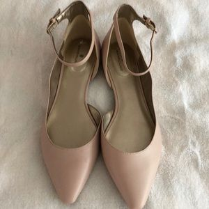 Pink flats with ankle straps